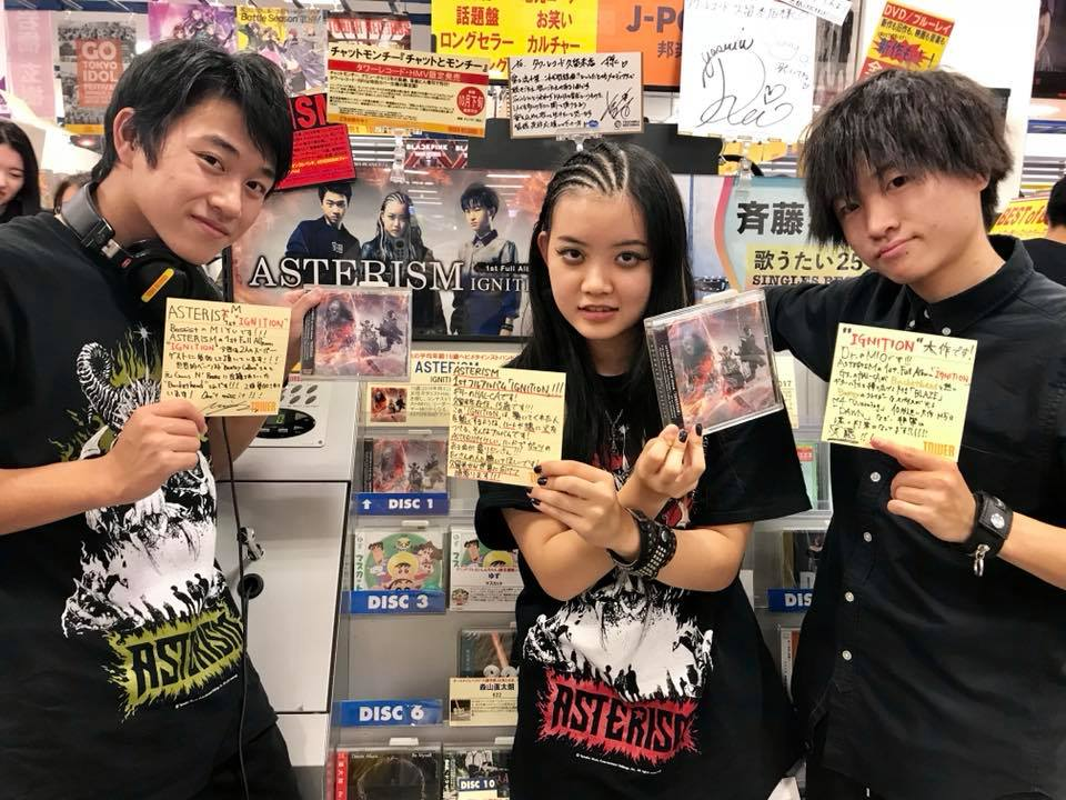 ASTERISM promotes the release of IGNITION at Tower Records