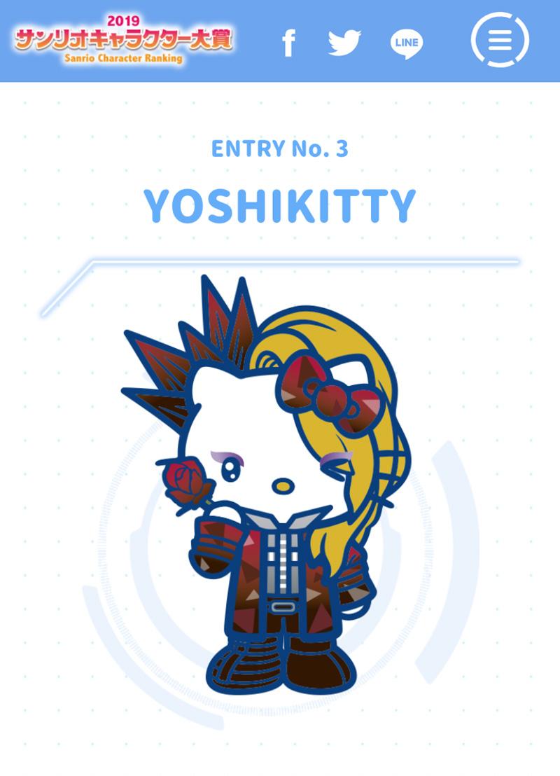 7c32c9744 YOSHIKI x Hello Kitty collaboration character Yoshikitty nominated in 34th  Sanrio Character Ranking